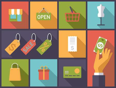 Horizontal flat design illustration with  shopping and retail symbols