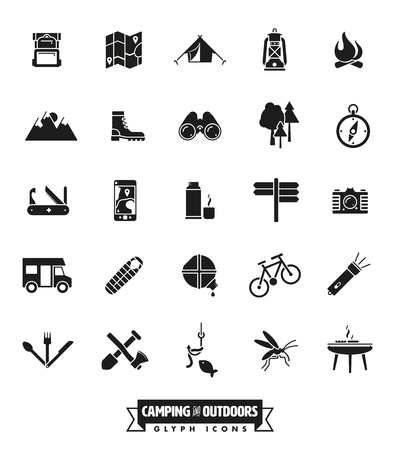 geocaching: camping, hiking and outdoor pursuit vector glyph icon collection Illustration