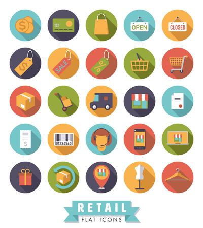 Colección de iconos de vector de compras y venta al por menor de diseño plano en círculos