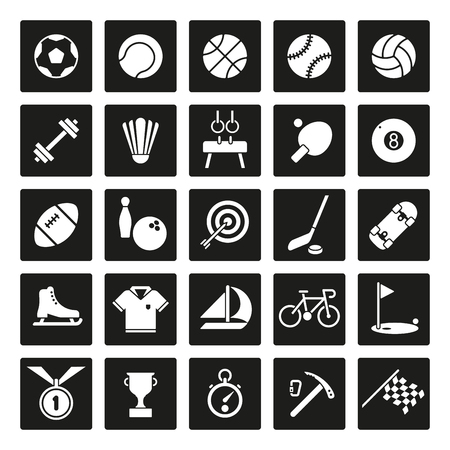 solid: Collection of 25 solid square sports and gymnastics vector icons Illustration