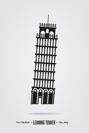 Posters with the silhouette of the leaning tower at Pisa, Italy