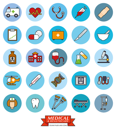 iv drip: Collection of 25 medical and healthcare related filled line icons in blue circles