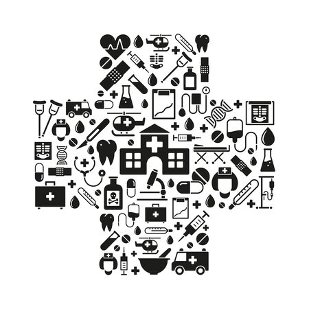 iv drip: variety of medical and health care symbols arranged in cross shape