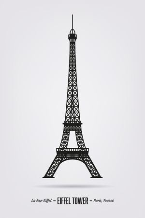 tower: Vector poster with the silhouette of the Eiffel tower