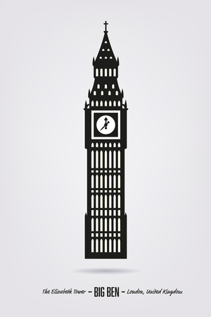elizabeth tower: Vector Illustration of Big Ben, the Elizabeth Tower at London Illustration
