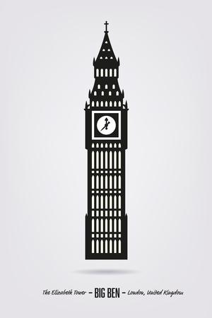elizabeth tower: Vector Illustration of Big Ben, the Elizabeth Tower at London Illustration