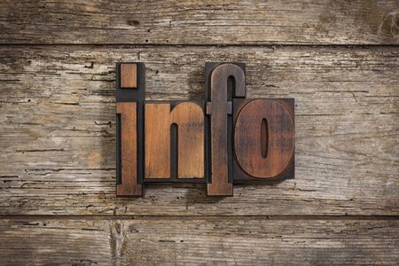 letterpress blocks: info, single word set with vintage letterpress printing blocks on rustic wooden background