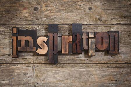 letterpress blocks: inspiration, single word set with vintage letterpress printing blocks on rustic wooden background