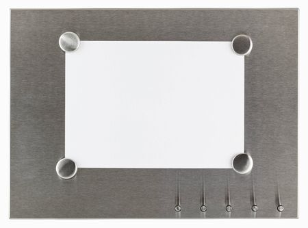 stainless steel sheet: Stainless steel magnet board with blank sheet of paper, isolated with clipping path