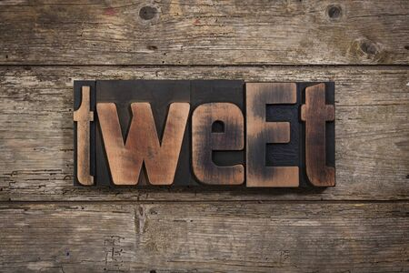 tweet: tweet, word set with antique letterpress type on rustic wooden background