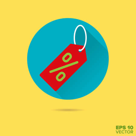 rebates: sale price tag with percent symbol flat design vector icon