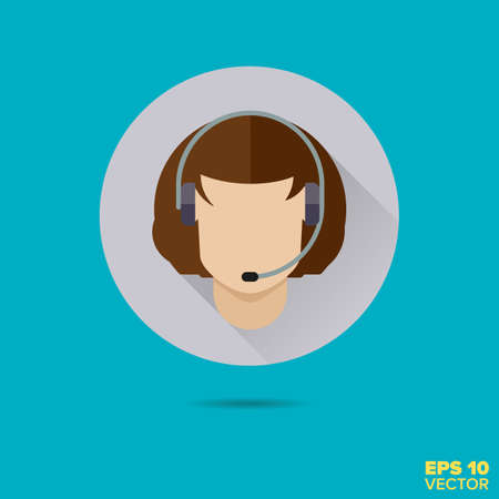 call center female: female call center agent flat design long shadow vector icon