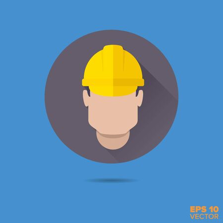 blue collar: construction worker flat design long shadow vector icon