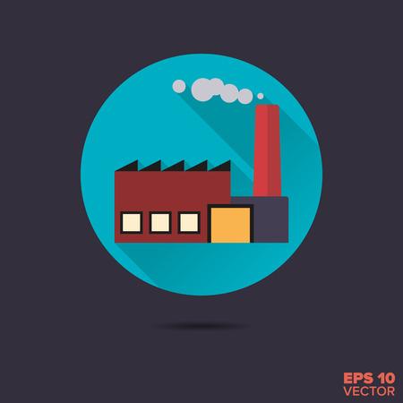 smokestack: factory building flat design long shadow vector icon Illustration
