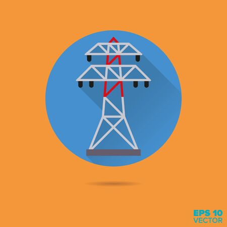 power line: power line pylon flat design long shadow vector icon