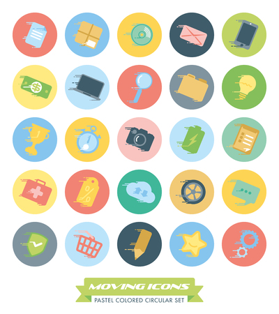 pastel colored: Set of fast moving pastel colored icons with speed streaks in circles