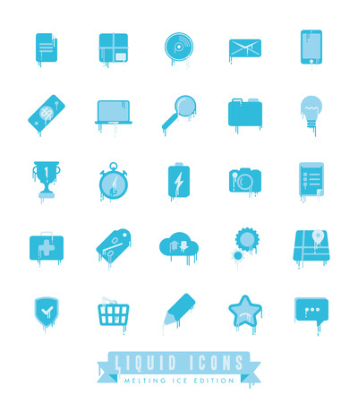 icicles: Set of liquid, melting web and business icons with icicles