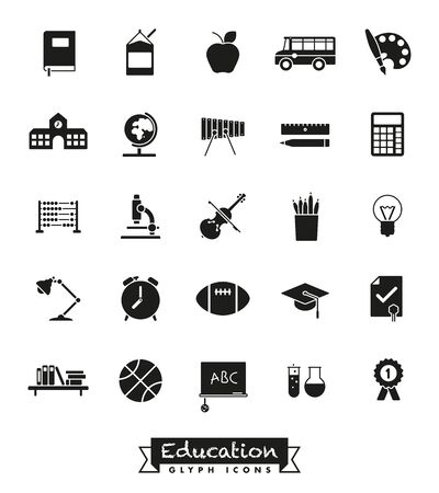glyph: Education and school vector glyph icons collection