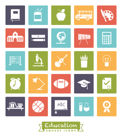 school class: Collection of school and education related square colored icons