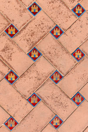 intricate: Close up of intricate tilework on the floor of Plaza de Espana, Seville, Spain