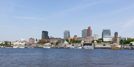 st pauli: Panoramic view of St Pauli Landing bridges at the port of hamburg
