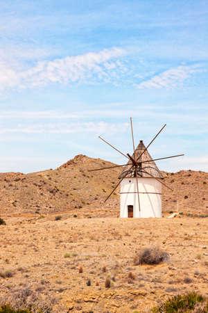 traditional windmill: Traditional windmill, Cabo de Gata natural park, Almeria province Stock Photo