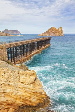 the 19th century: Bay of Hornillo at Aguilas on the Costa Calida with its 19th century pier