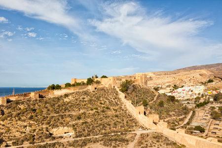 moorish: The moorish fortress Alcazaba at Almeria, with  the colorful La Chanca neighborhood in background