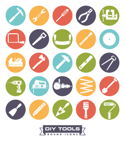 tools icon: Collection of DIY and crafting tool icons in colored circles Illustration