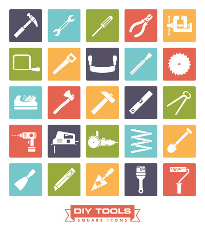 Het verzamelen van DIY en knutselen gereedschap iconen in gekleurde vierkantjes Stock Illustratie