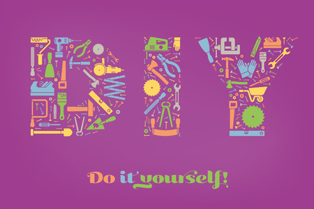 do it yourself: Do it yourself concept with letters DIY made of colorful tools symbols on purple background