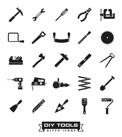 diy tool: Collection of DIY and crafting tool icons