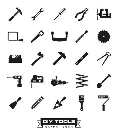 Het verzamelen van DIY en knutselen gereedschap iconen Stock Illustratie