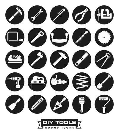 diy tool: Collection of DIY and crafting tool icons in black circles