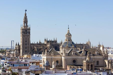 metropol parasol: Seville cathedral with Giralda and Church of Annunciation as seen from Metropol Parasol lookout