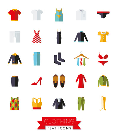 Collection of flat design fashion and clothing vector icons on white background