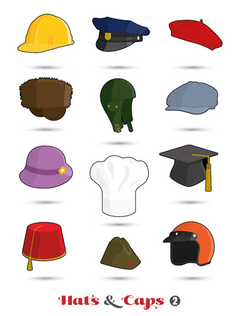 Hats and caps icons, set 2