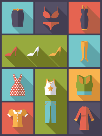 tank top: vertical flat design illustration with womens clothing and fashion symbols Illustration