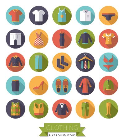 brogues: Collection of flat design fashion and clothing vector icons in circles