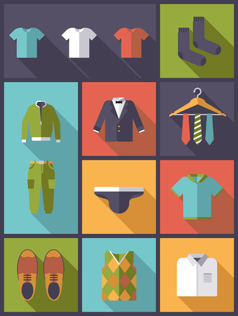 Vertical flat design with long shadow illustration menswear and fashion symbols