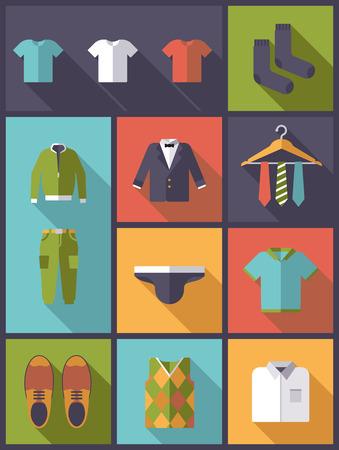 menswear: Vertical flat design with long shadow illustration menswear and fashion symbols