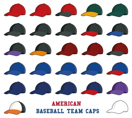major league: Collection of baseball cap icons with team colors of american professional league