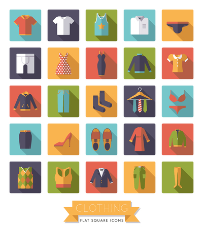 rounded squares: Collection of flat design fashion and clothing vector icons in rounded squares Illustration