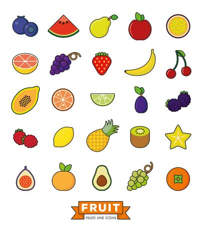 fill: Collection of line fill fruit icons on white background