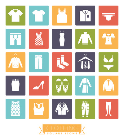 cargo pants: Collection of fashion and clothing vector icons, negative in colored squares Illustration