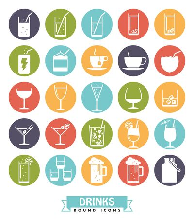 pilsener: Collection of drink and beverage icons, negative in colored circles