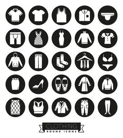 Collection of fashion and clothing vector icons on white background Illustration