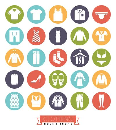 Collection of fashion and clothing vector icons, negative in colored circles Illustration
