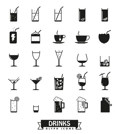 champagne orange: Collection of drink and beverage icons on white background