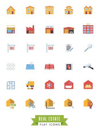 floorplan: Real estate flat design icons on white background Illustration